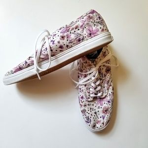 Vans | Purple Floral Watercolor Lace Up Shoes